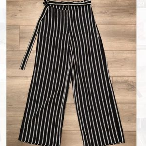 Black and white stripe wide leg trouser
